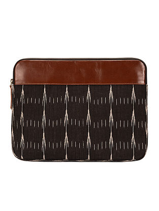 Tan-Black Ikat Cotton and Leather Laptop Sleeve