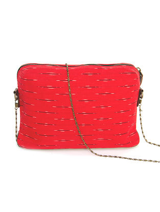 Red Ikat Hand Printed Cotton Sling Bag cum Pouch