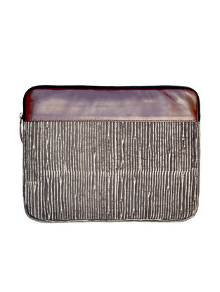 Brown-White Dabu Hand Printed Cotton Laptop Sleeve