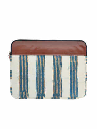 Blue-White Dabu Print Cotton Laptop Sleeve