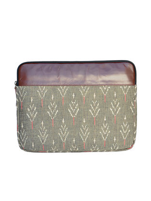 Green-Grey Dabu Hand Printed Cotton Laptop Sleeve