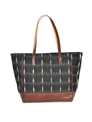 Black Ikat Weave Cotton and Leather Tote