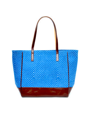 Blue Ikat Weave Cotton and Leather Tote
