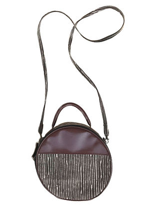 Brown-White Cotton and Leather Sling bag Cum Handbag