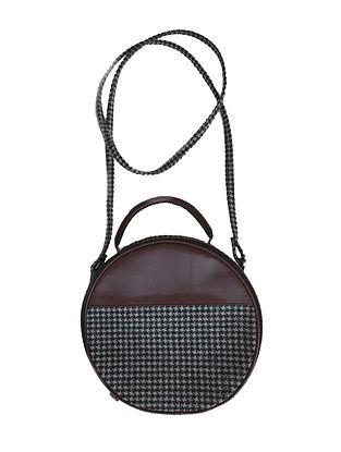 Black-Grey Wool and Leather Sling Bag Cum Handbag