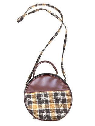 Tan-Multicolored Wool and Leather Sling Bag Cum Handbag