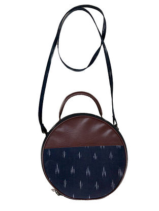 Blue-Brown Cotton and Leather Sling bag Cum Handbag