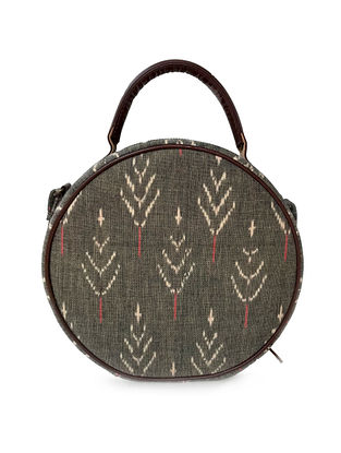 Tan-Grey Cotton and Leather Sling bag Cum Handbag