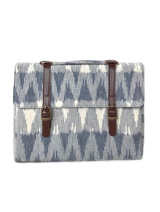 White-Grey Ikat Printed Cotton and Leather Laptop Sleeve