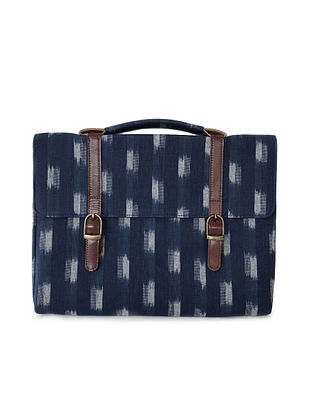 Blue-Brown Ikat Printed Cotton and Leather Laptop Sleeve