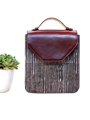 Brown-White Cotton and Leather Hand Bag Cum Sling Bag