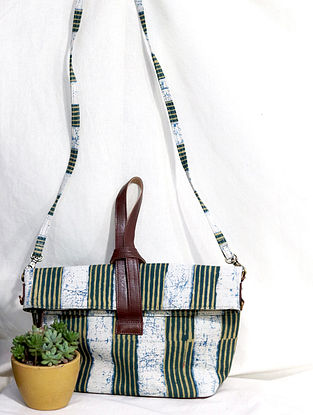 Multicolored Cotton and Leather Hand Bag Cum Sling Bag