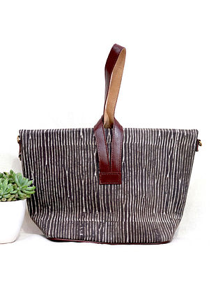 Brown-White Cotton and Leather Convertible Sling Bag