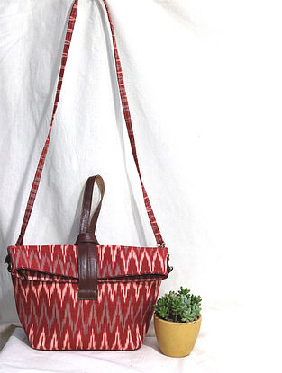 Red Cotton and Leather Convertible Sling Bag