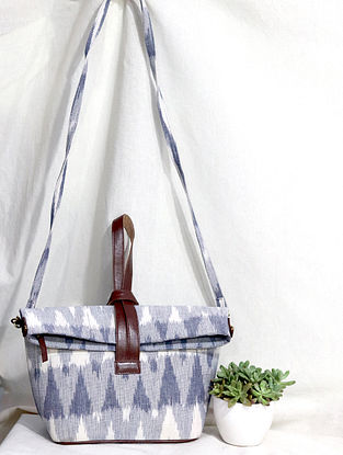 White-Grey Cotton and Leather Convertible Sling Bag
