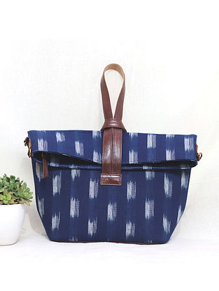 Blue-White Cotton and Leather Convertible Sling Bag