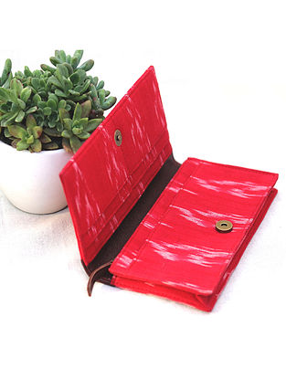 Red Cotton and Leather Pouch