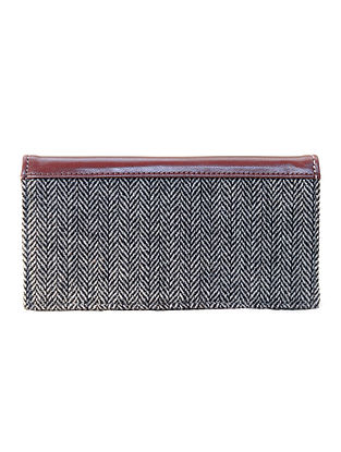 Black-White Cotton and Leather Pouch