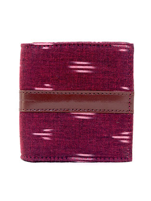 Maroon Cotton and Leather Wallet