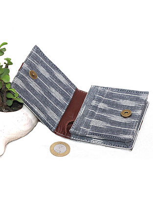 White-Grey Cotton and Leather Wallet