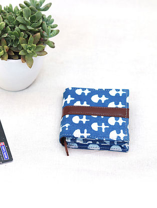 Blue-White Cotton and Leather Wallet