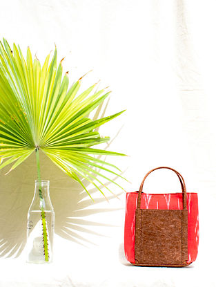 Red Cotton and Leather Ikat Hand Bag