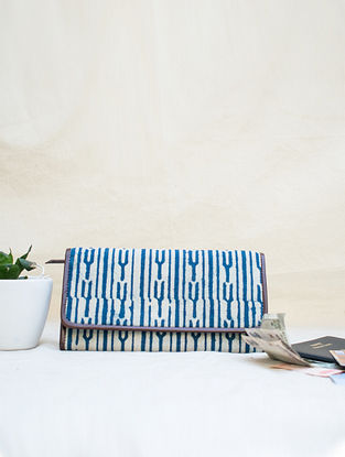 White Blue Cotton and Leather Wallet