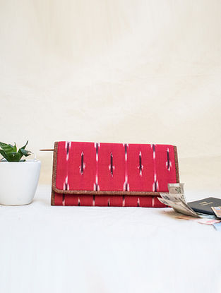 Red Cotton and Leather Ikat Wallet