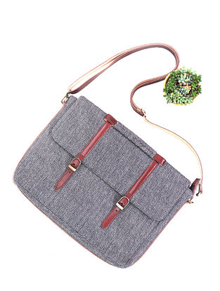 Grey Leather Wool Laptop Bag