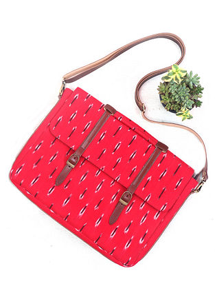 Red Cotton and Leather Ikat Laptop Bag