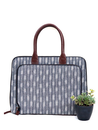 Grey Cotton and Leather Laptop Bag
