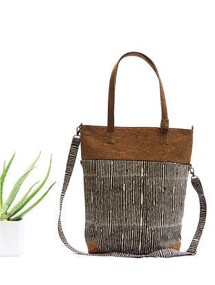 Brown Dabu Print Canvas Leather Sling Cum Tote Bag