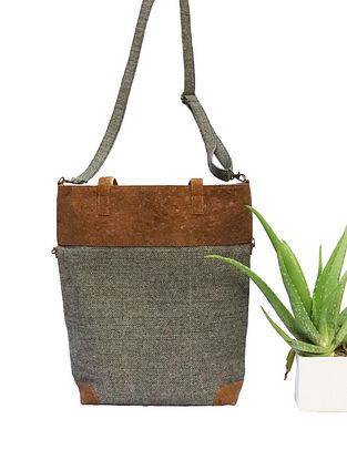 Black Himachali Wool Leather Sling Cum Tote Bag