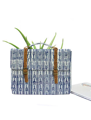 Indigo Dabu Print Canvas Leather Laptop Bag