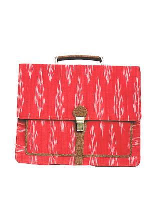 Red Ikat Weave Leather Laptop Bag