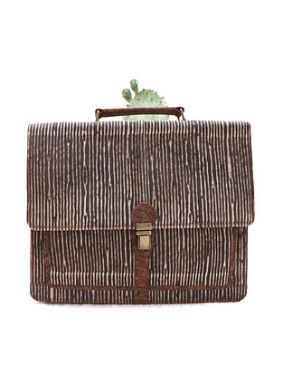 Brown Beige Dabu Printed Canvas and Leather Laptop Bag