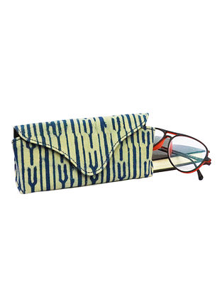 Indigo White Dabu Printed Canvas and Leather Spectacle Case