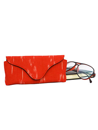 Red Ikat Weave Cotton and Leather Spectacle Case
