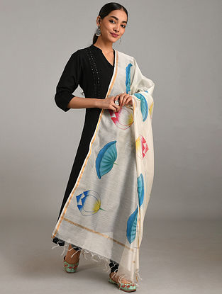 Ivory-Blue Hand Painted Chanderi Dupatta