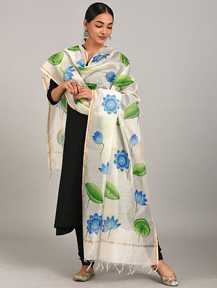 Ivory-Green Hand Painted Chanderi Dupatta