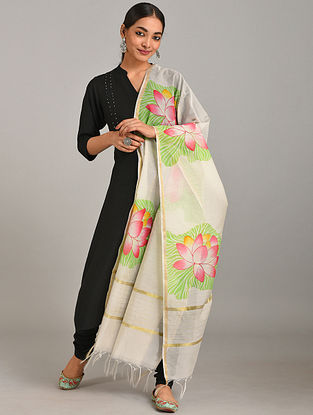 Ivory -Green Hand Painted Chanderi Dupatta