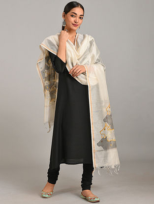 Ivory-Grey Hand Painted Chanderi Dupatta