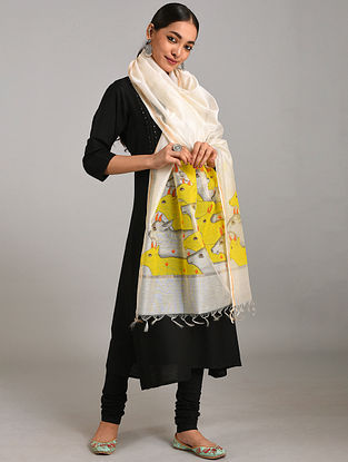 Ivory-Yellow Hand Painted Chanderi Dupatta