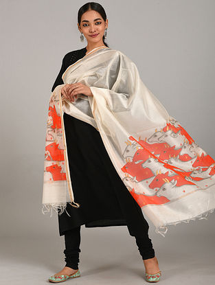 Ivory-Red Hand Painted Chanderi Dupatta