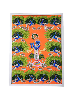 Shri Nathji with Peacocks Mix Media on Canvas (45in x 33in)