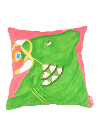 Pink-Green Organic Cotton Cushion Cover - 16in x 16in