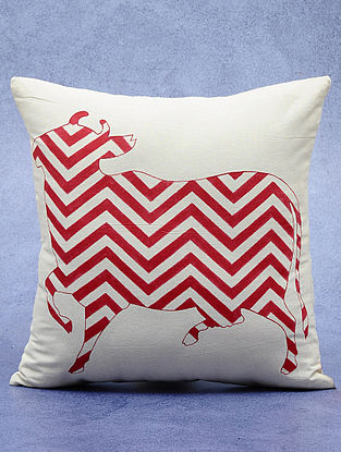 Cotton Red-Ivory Hand-Painted Dhenu Cushion Cover 16in x 16in
