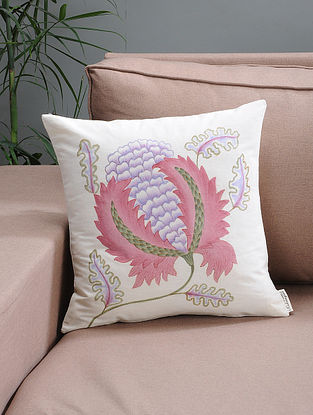 White-Pink Floral Hand-painted Organic Cotton Cushion Cover