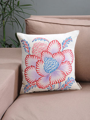 White-Red Floral Hand-painted Organic Cotton Cushion Cover