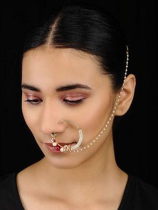 Pink Kundan-inspired Gold Tone Silver Nath